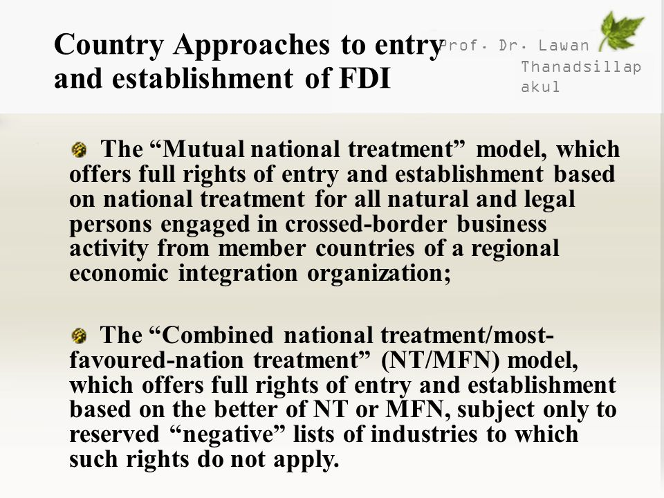 Country Approaches to entry and establishment of FDI