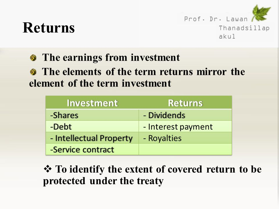 Returns The earnings from investment
