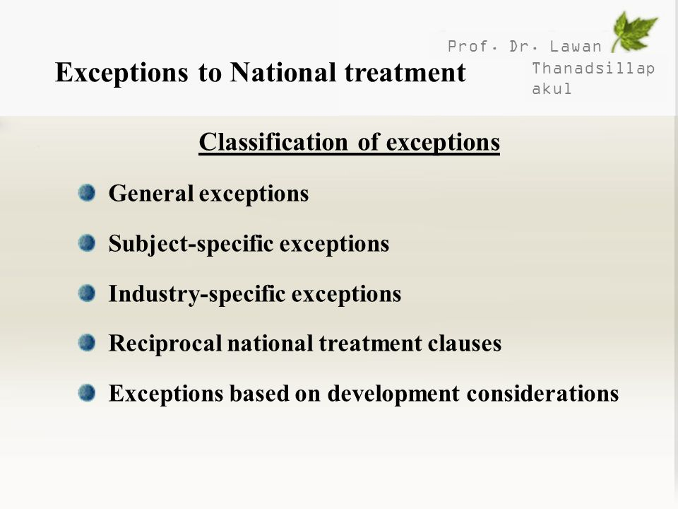 Classification of exceptions