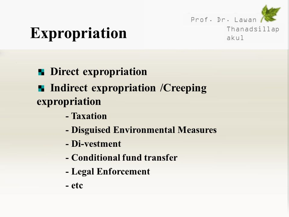 Expropriation Direct expropriation