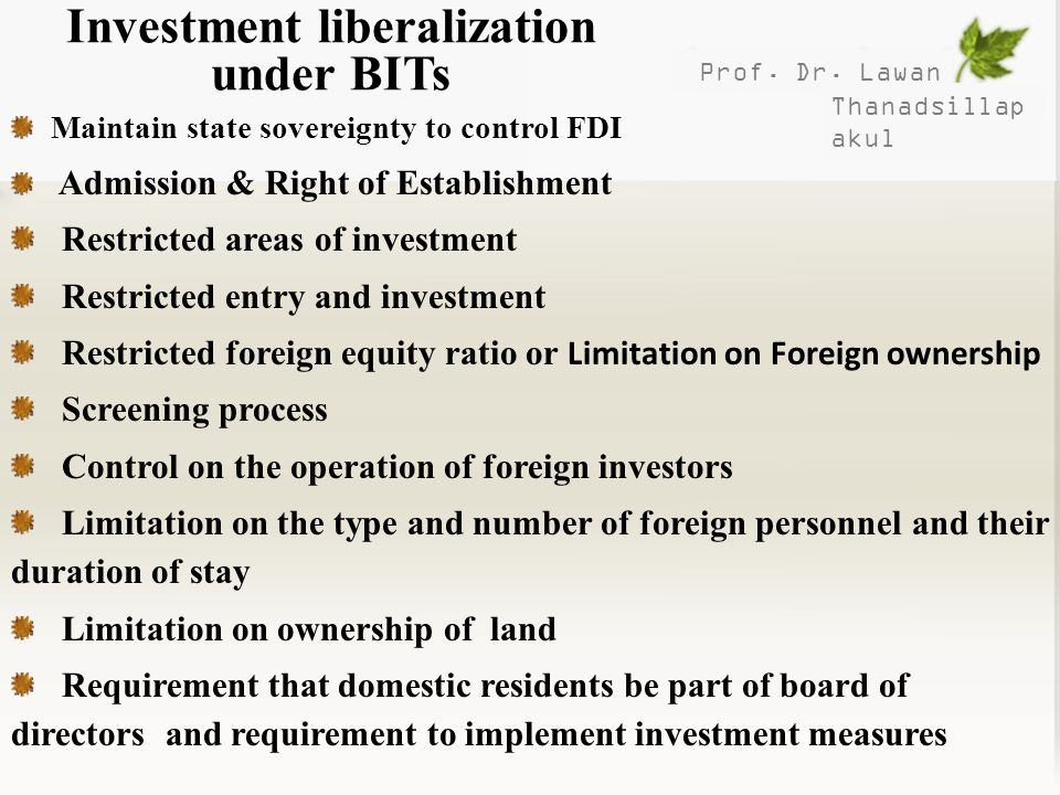 Investment liberalization under BITs