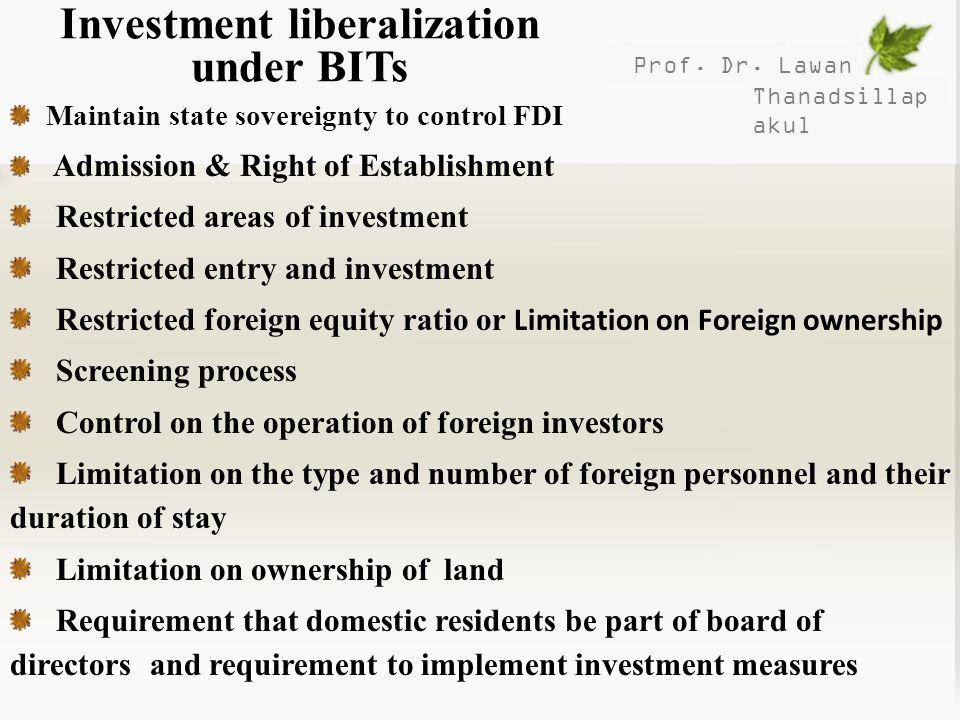 Investment liberalization under BITs