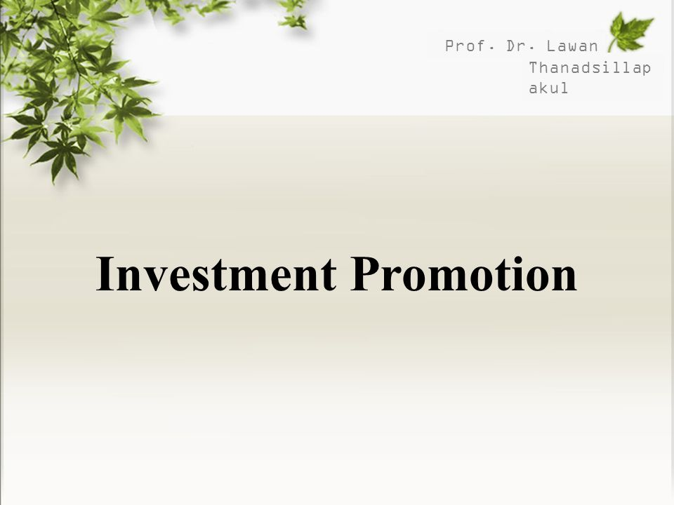 Prof. Dr. Lawan Thanadsillapakul Investment Promotion