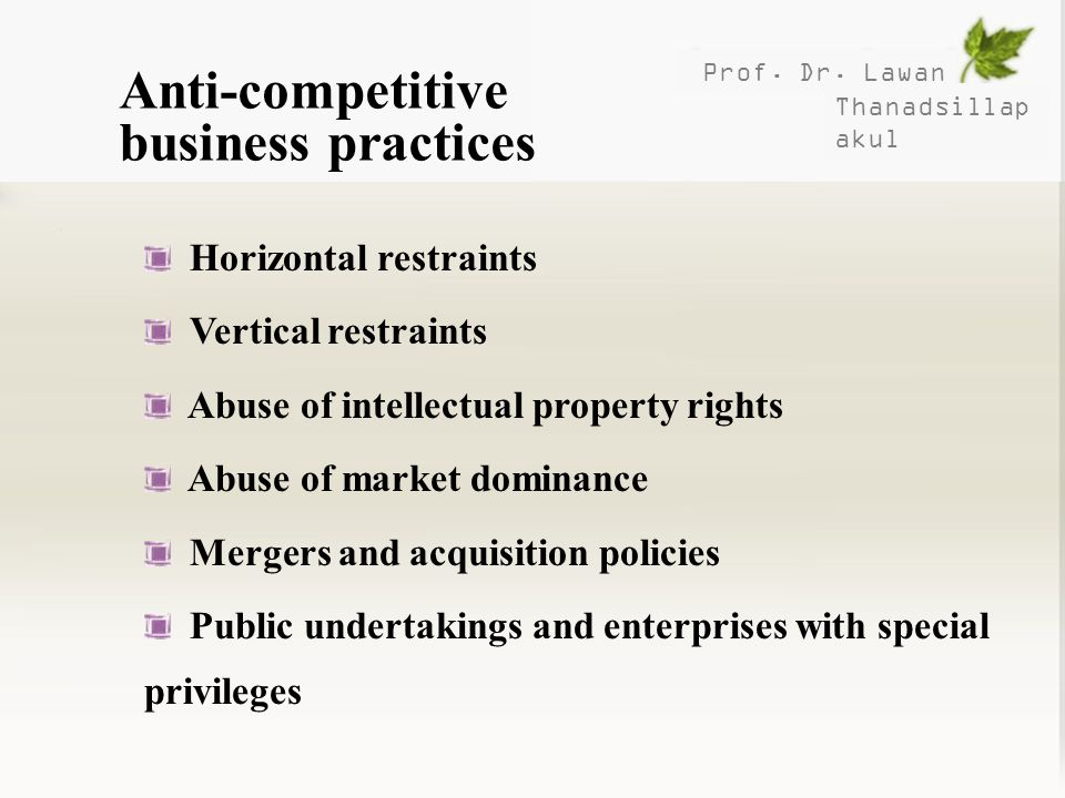 Anti-competitive business practices