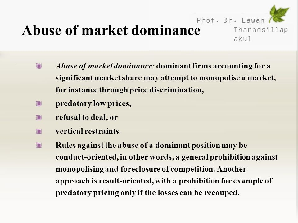 Abuse of market dominance