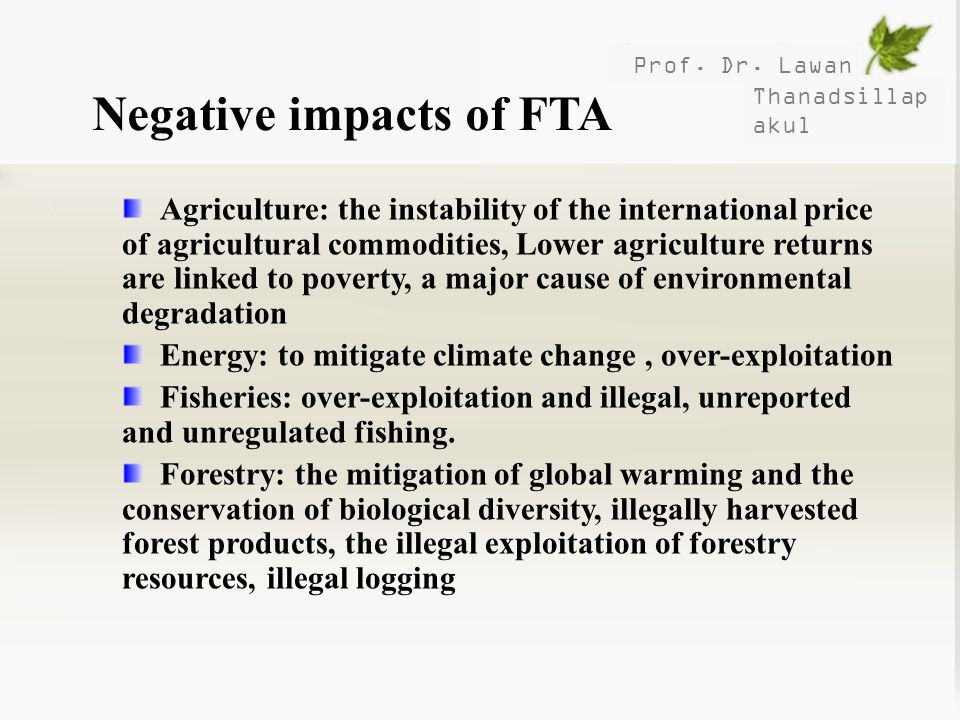 Negative impacts of FTA