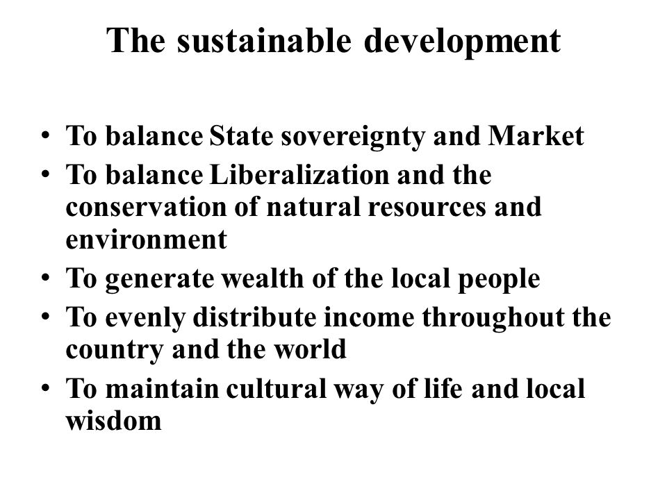 The sustainable development