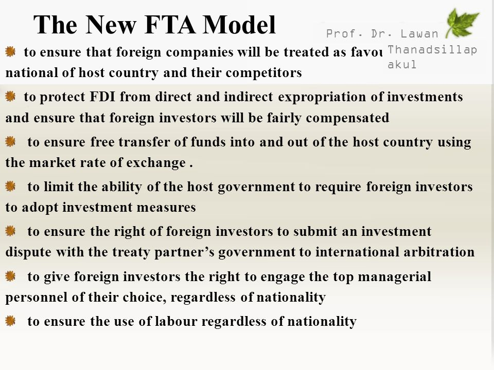 The New FTA Model Prof. Dr. Lawan.