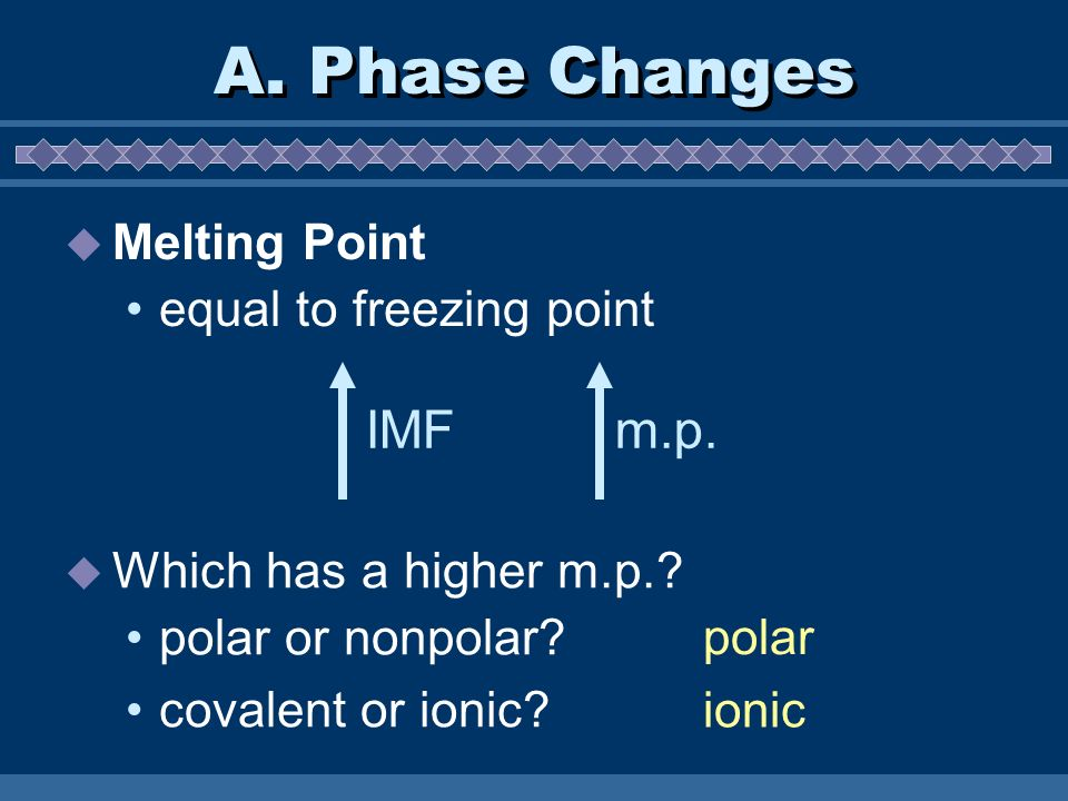 A. Phase Changes IMF m.p. Melting Point equal to freezing point