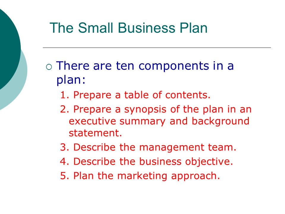 describe the components of a business plan