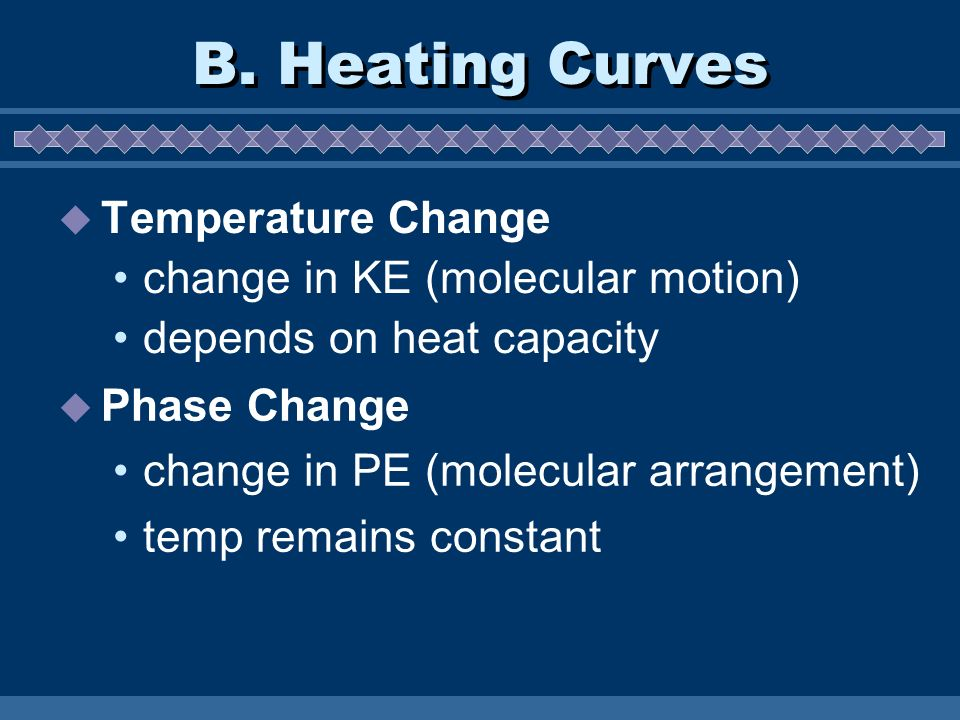 B. Heating Curves Temperature Change change in KE (molecular motion)