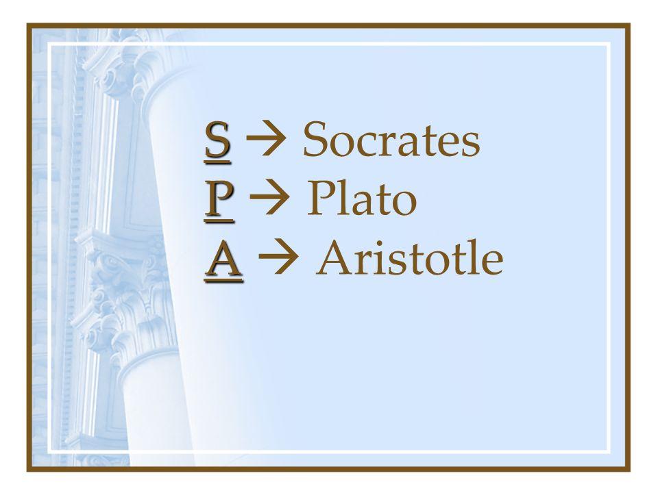 S  Socrates P  Plato A  Aristotle