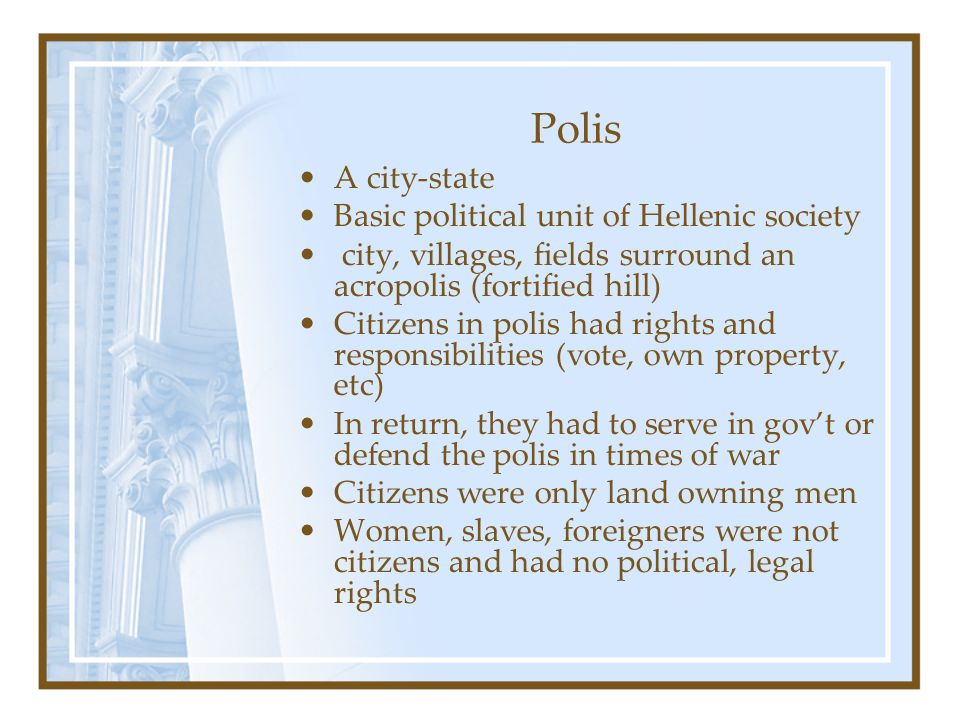 Polis A city-state Basic political unit of Hellenic society