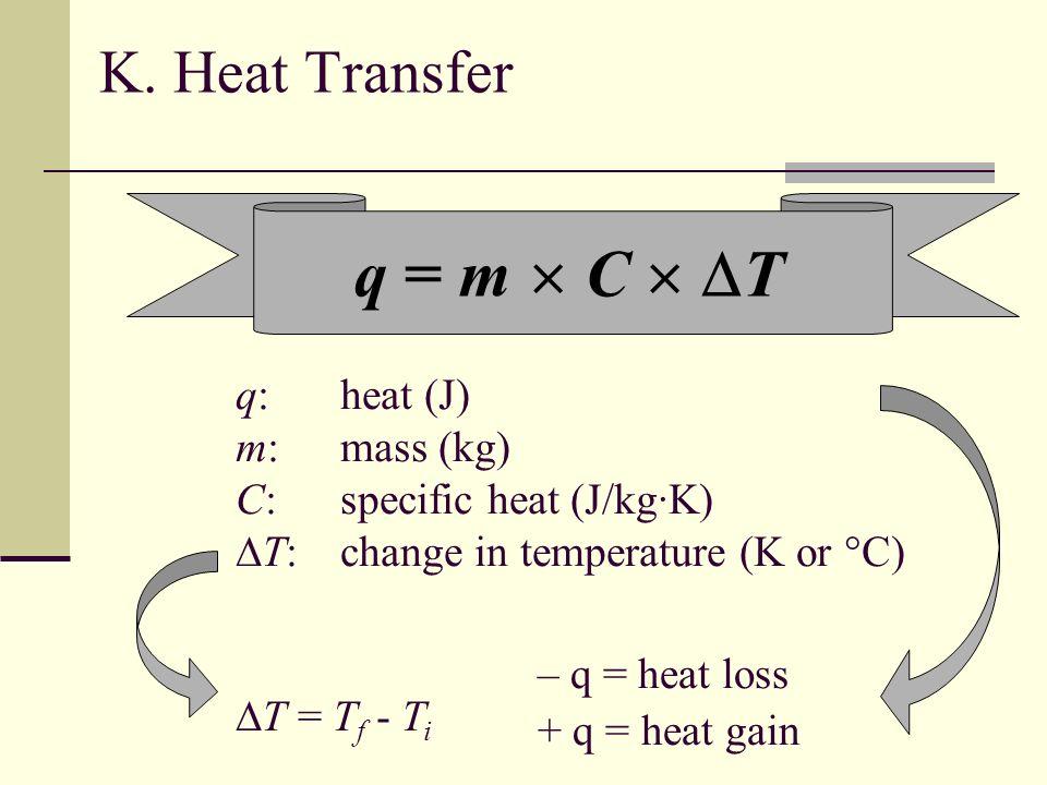 q = m  C  T K. Heat Transfer q: heat (J) m: mass (kg)