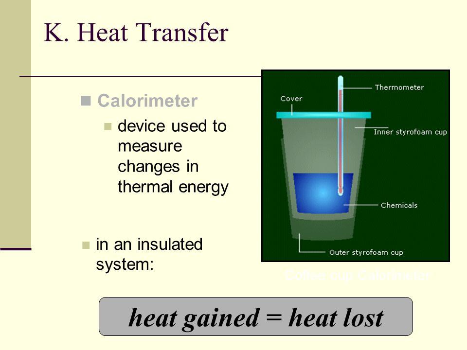 K. Heat Transfer heat gained = heat lost Calorimeter