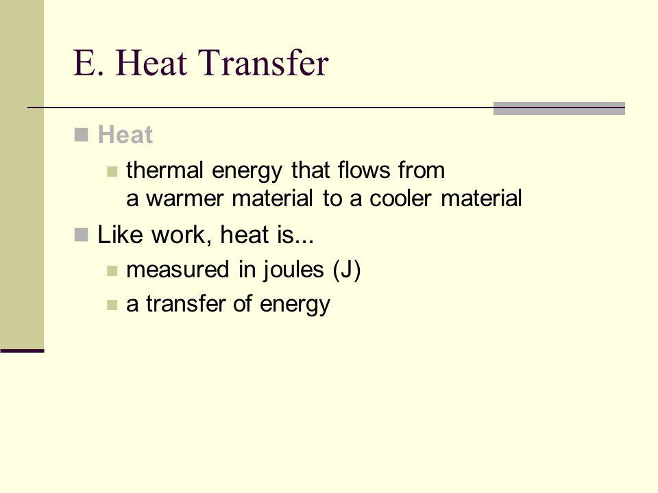 E. Heat Transfer Heat Like work, heat is...