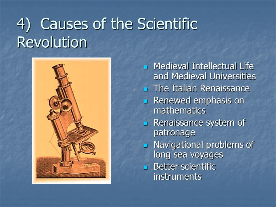 the cause of scientific revolution The scientific revolution is a concept used by historians to describe the emergence of modern science during the early modern period, when developments in mathematics.