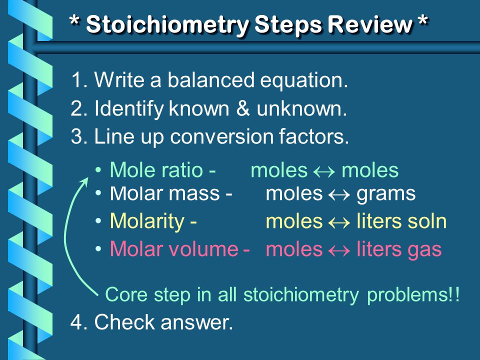 * Stoichiometry Steps Review *