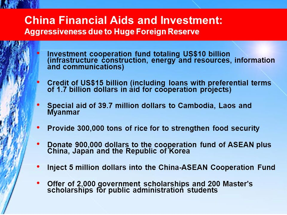 China Financial Aids and Investment: Aggressiveness due to Huge Foreign Reserve