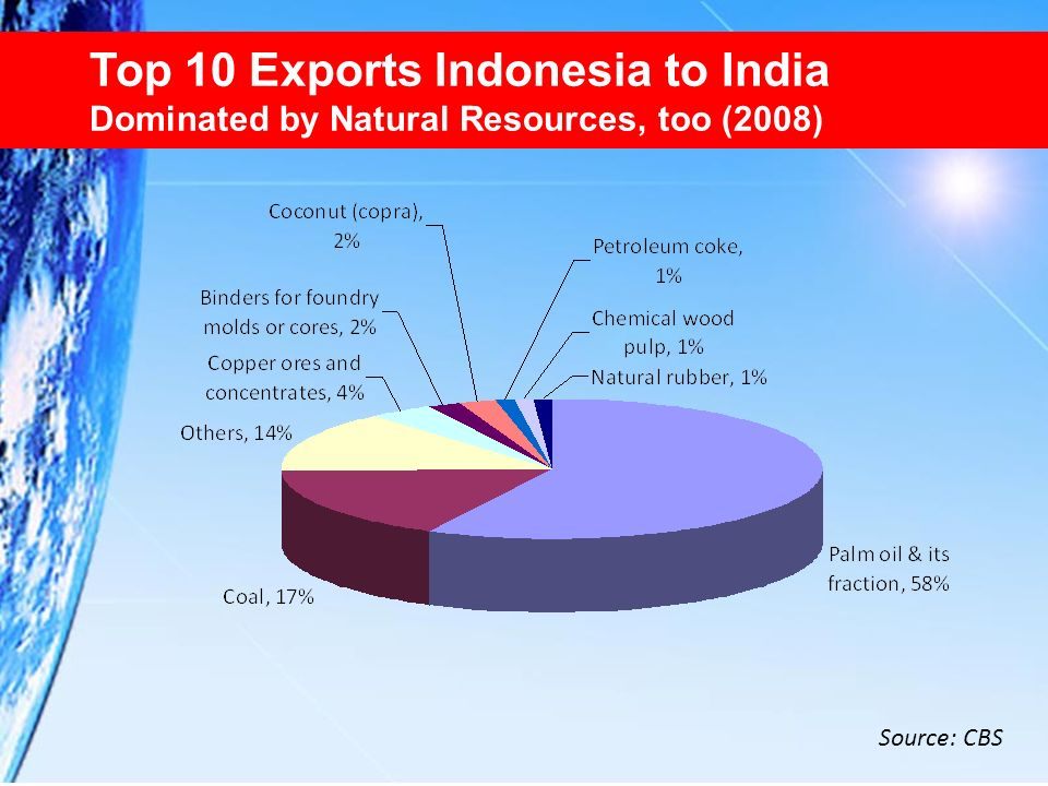 Top 10 Exports Indonesia to India Dominated by Natural Resources, too (2008)