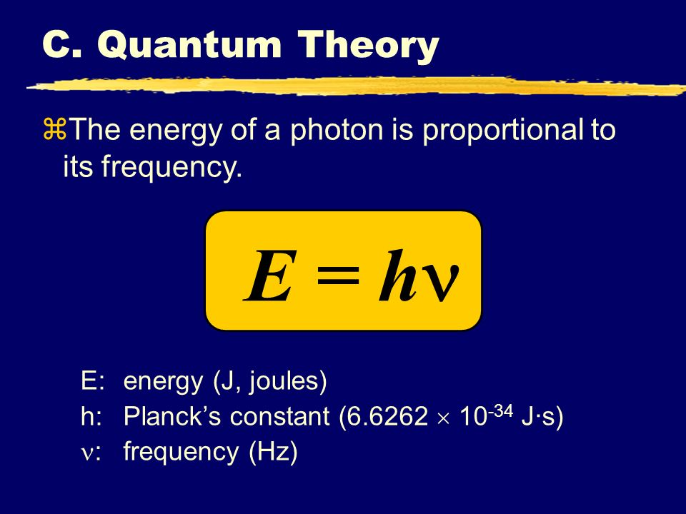 C. Quantum Theory The energy of a photon is proportional to its frequency. E = h E: energy (J, joules)