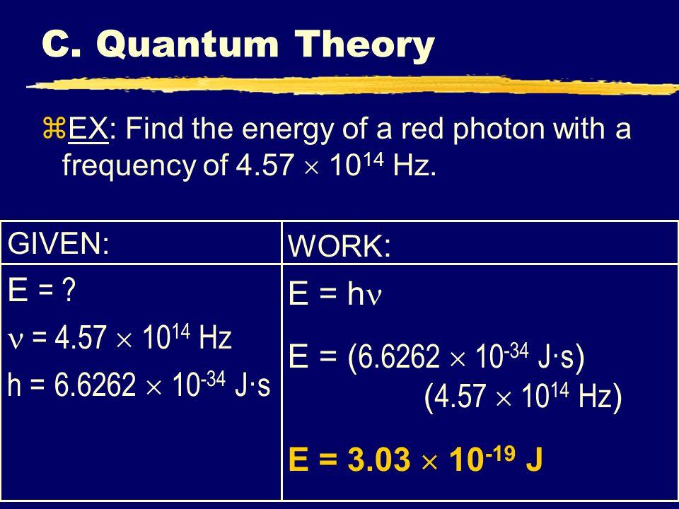 C. Quantum Theory E = E = h  = 4.57  1014 Hz