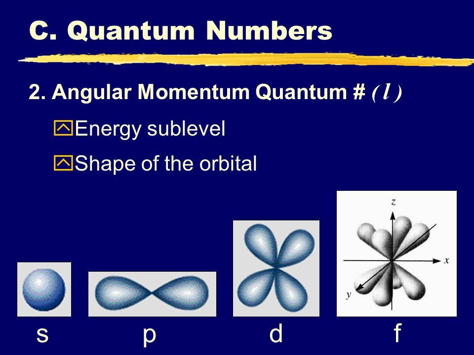 C. Quantum Numbers f d s p 2. Angular Momentum Quantum # ( l )