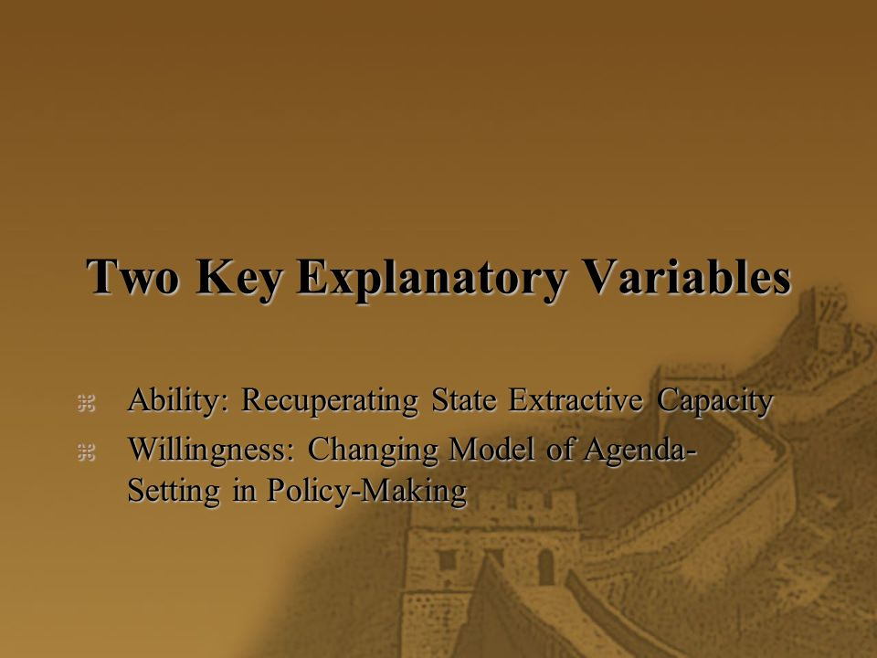 Two Key Explanatory Variables