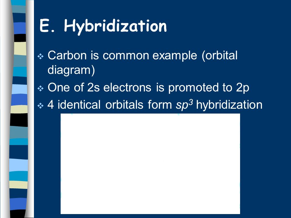 E. Hybridization Carbon is common example (orbital diagram)