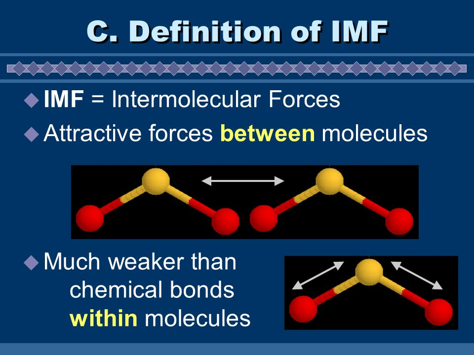 C. Definition of IMF IMF = Intermolecular Forces
