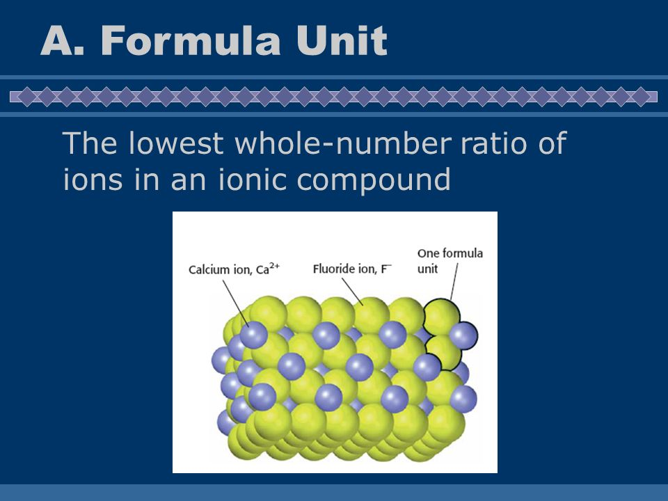A. Formula Unit The lowest whole-number ratio of ions in an ionic compound