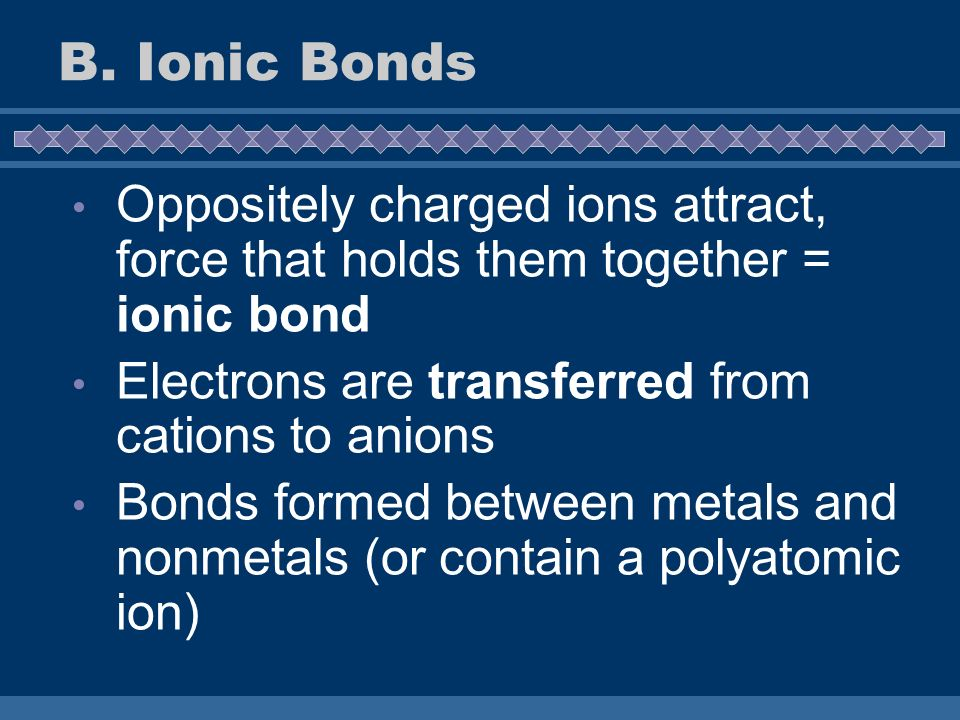 B. Ionic Bonds Oppositely charged ions attract, force that holds them together = ionic bond. Electrons are transferred from cations to anions.