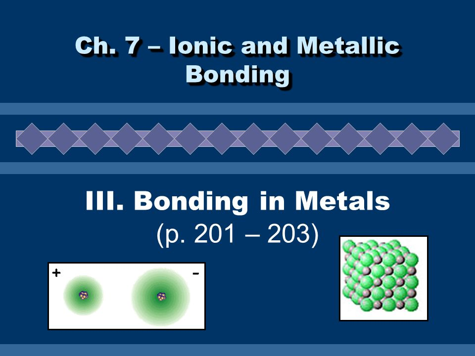 III. Bonding in Metals (p. 201 – 203)