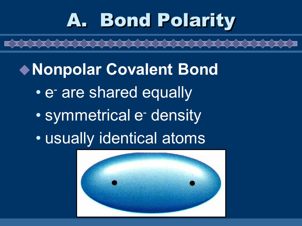 A. Bond Polarity Nonpolar Covalent Bond e- are shared equally