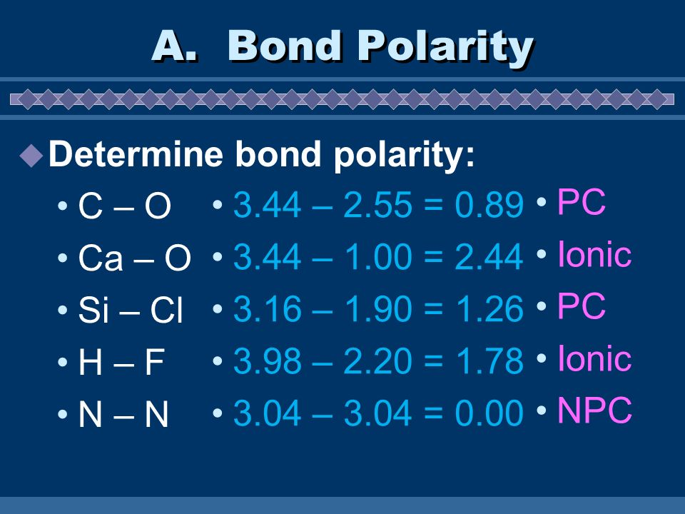 A. Bond Polarity Determine bond polarity: C – O Ca – O PC
