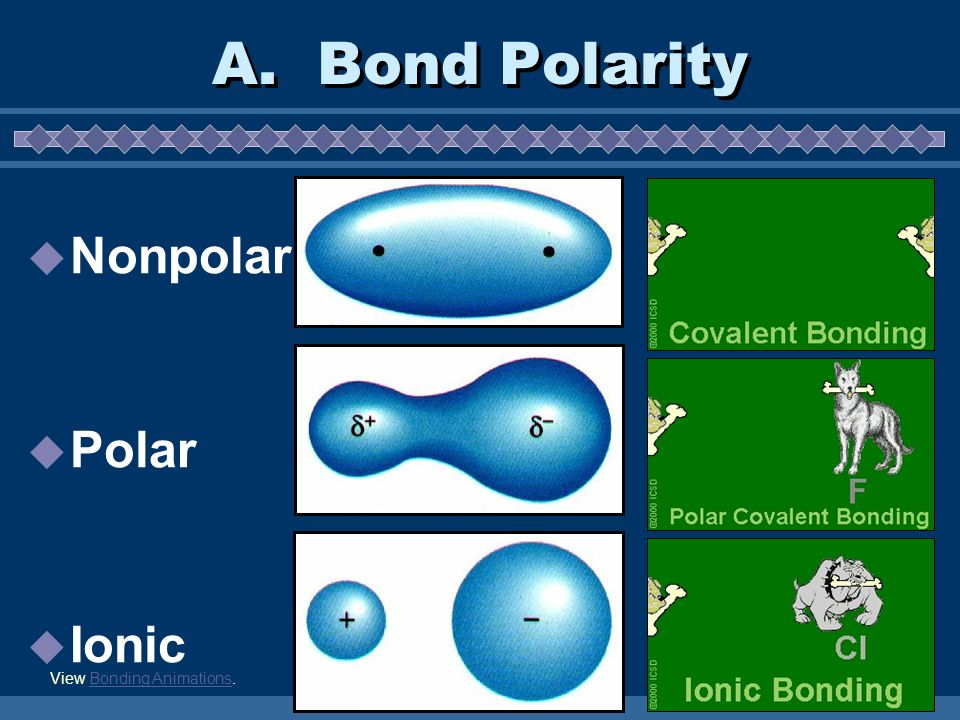 A. Bond Polarity Nonpolar Polar Ionic View Bonding Animations.