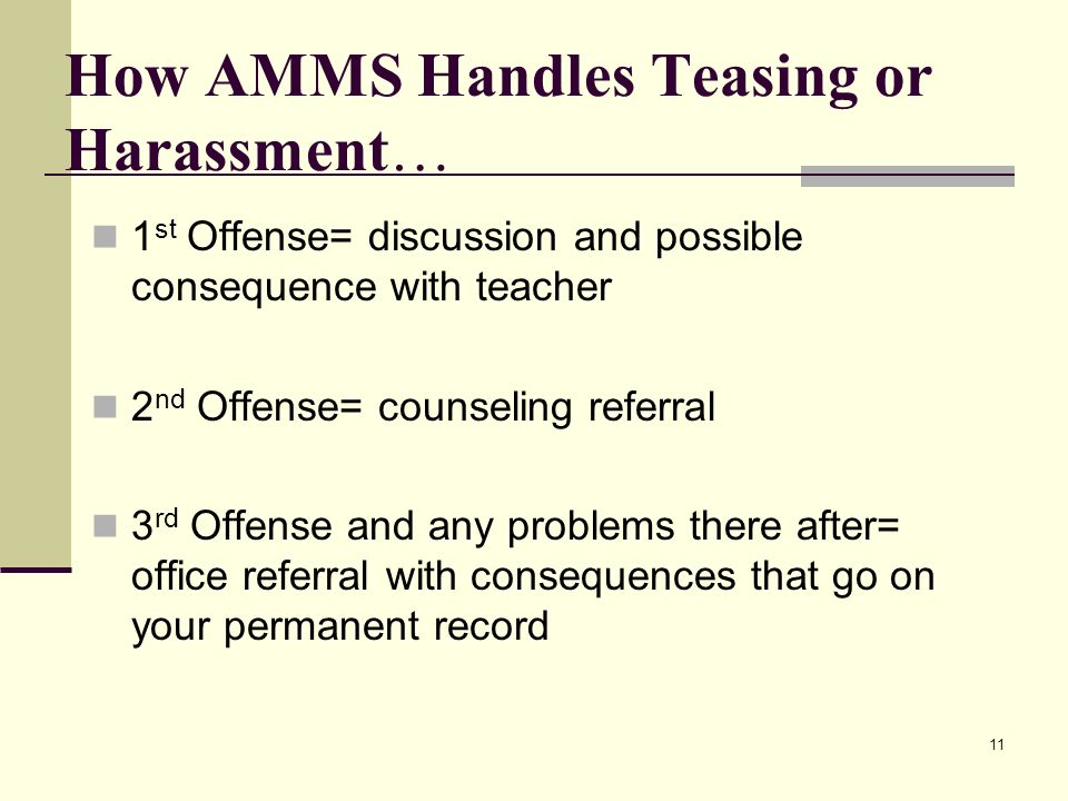 How AMMS Handles Teasing or Harassment…