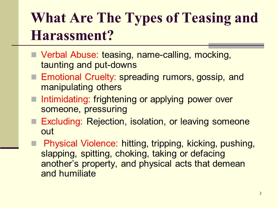 What Are The Types of Teasing and Harassment