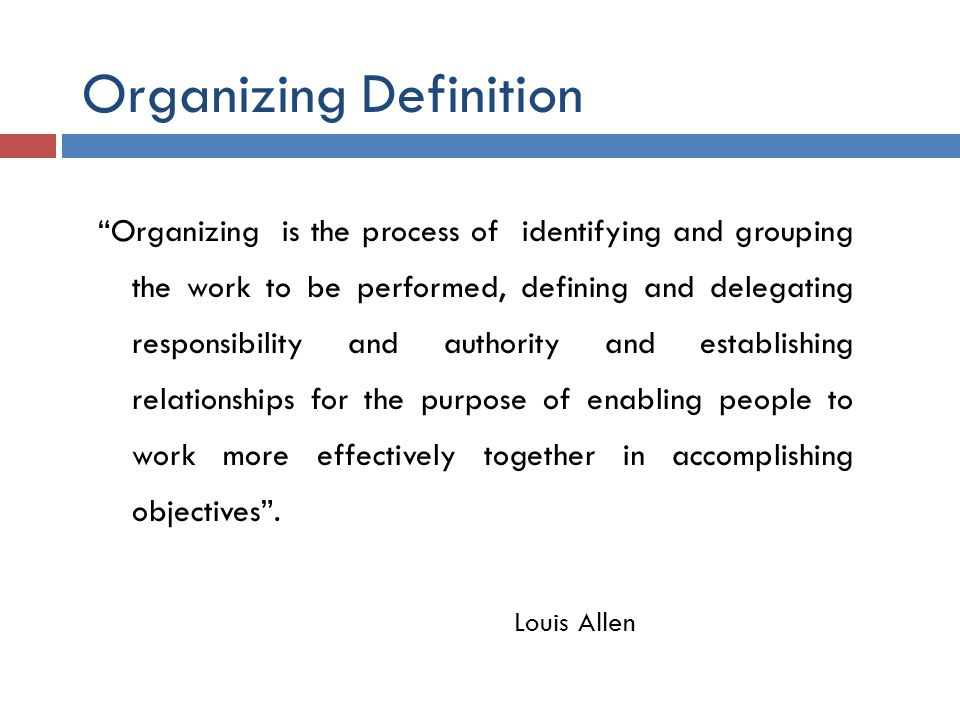 Organizing Definition