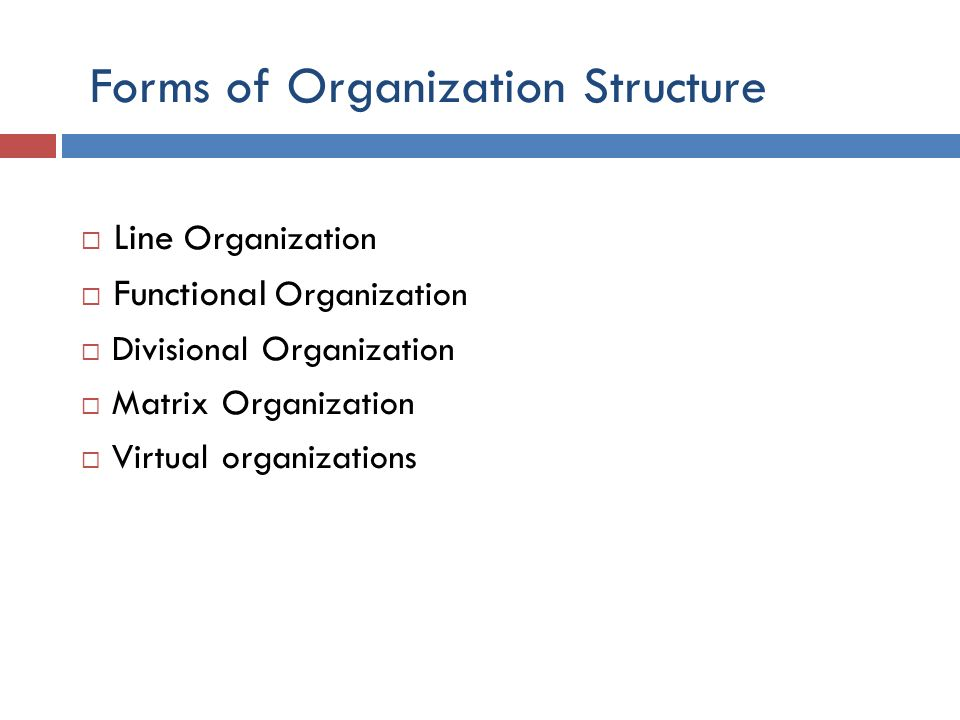 Forms of Organization Structure