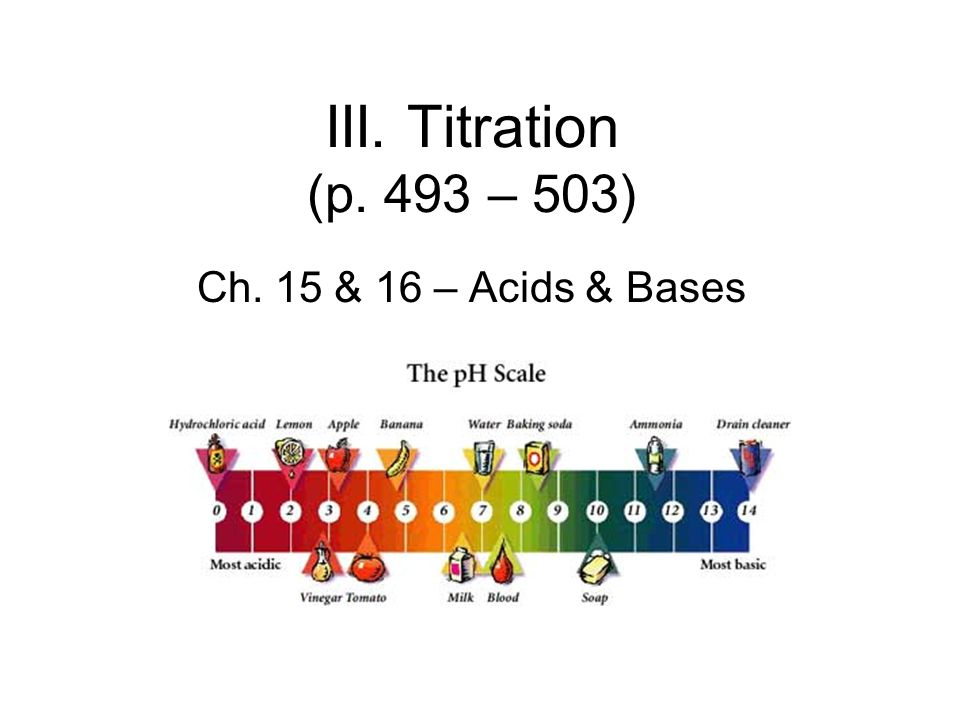 III. Titration (p. 493 – 503) Ch. 15 & 16 – Acids & Bases