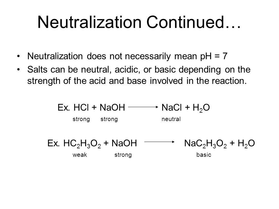 Neutralization Continued…