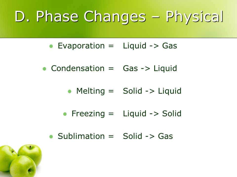 D. Phase Changes – Physical