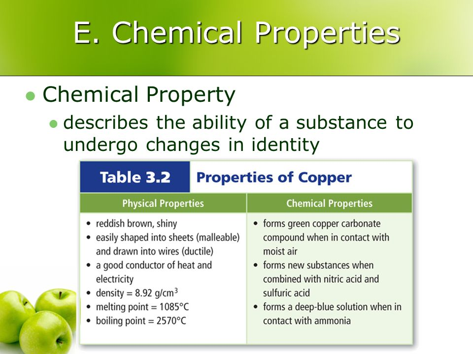E. Chemical Properties Chemical Property