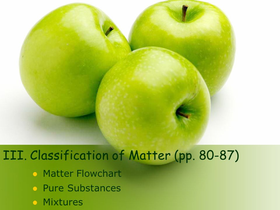 III. Classification of Matter (pp )