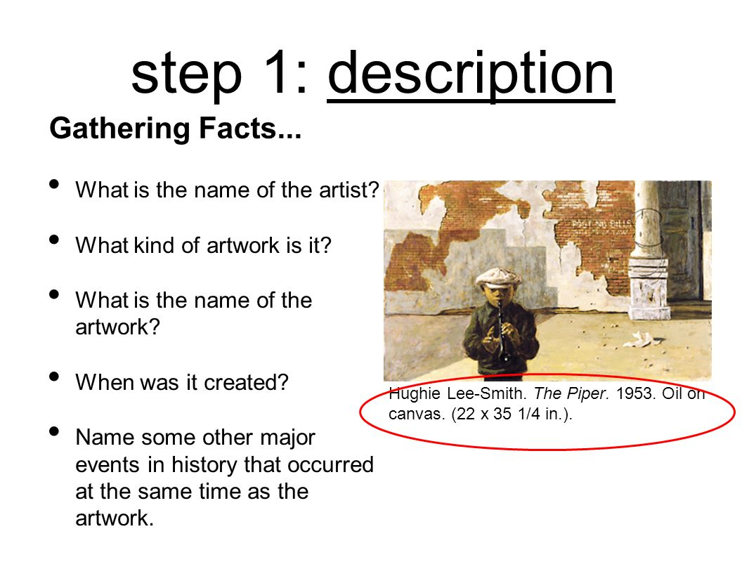 step 1: description Gathering Facts... What is the name of the artist