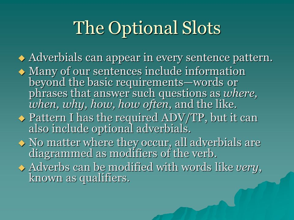 The Optional Slots Adverbials can appear in every sentence pattern.