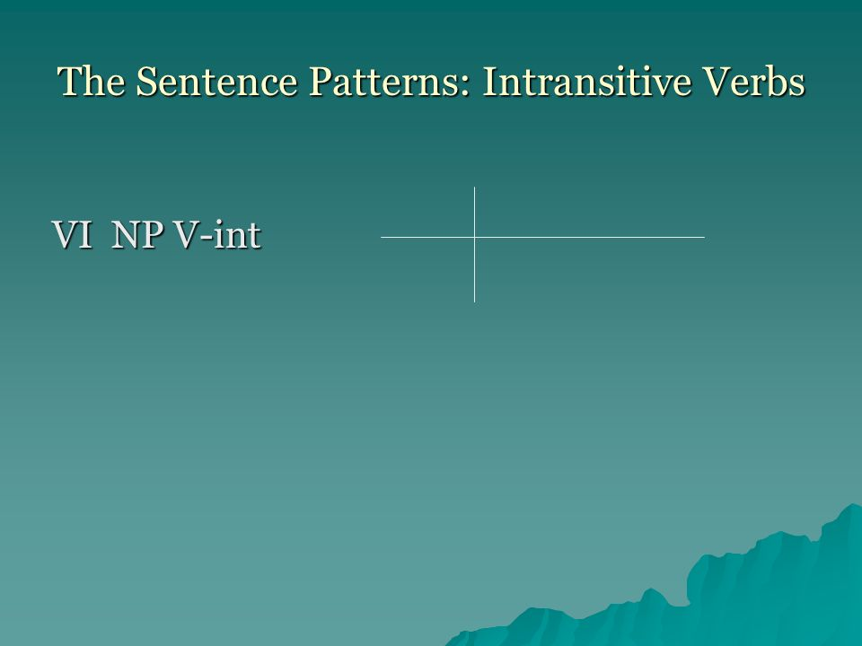 The Sentence Patterns: Intransitive Verbs