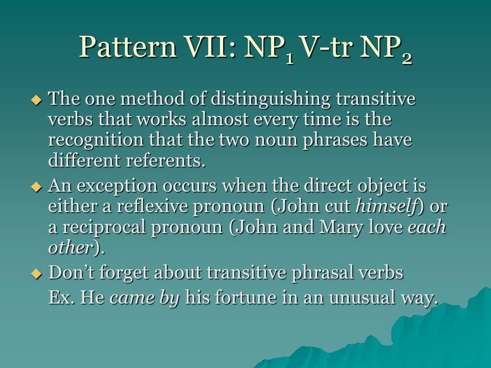 Pattern VII: NP1 V-tr NP2