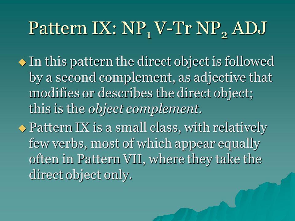 Pattern IX: NP1 V-Tr NP2 ADJ